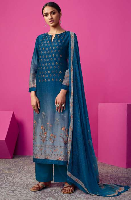 Chanderi Silk Digital Print with Embellished Work Blue Salwar Suit Sets - MAI535