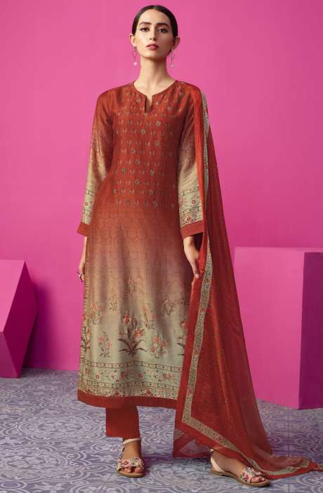 Chanderi Silk Digital Print with Embellished Work Maroon Salwar Suit Sets - MAI543