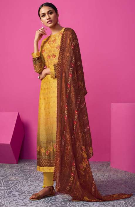 Chanderi Silk Digital Print with Embellished Work Mustard Yellow Salwar Suit Sets - MAI550
