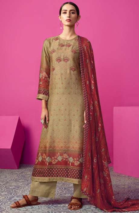 Chanderi Silk Digital Print with Embellished Work Beige & Maroon Salwar Suit Sets - MAI560