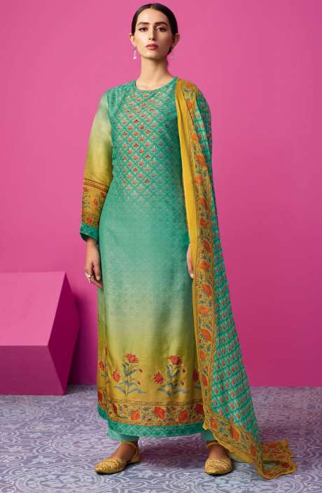 Chanderi Silk Digital Print with Embellished Work Sea Green and Mustard Salwar Suit Sets - MAI580