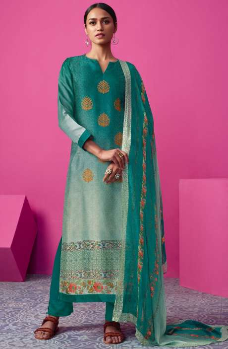 Chanderi Silk Digital Print with Embellished Work Firozi Salwar Suit Sets - MAI588
