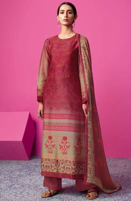 Chanderi Silk Digital Print with Embellished Work Red & Maroon Salwar Suit Sets - MAI595