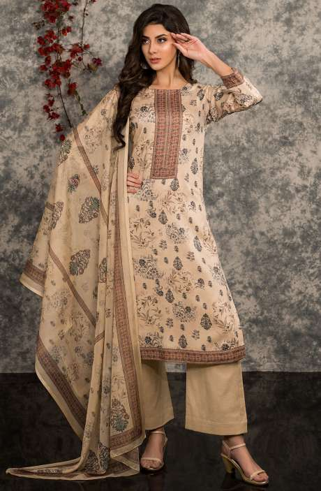 Digital Floral Print Summer Wear Modal Cotton Salwar Suit In Beige - MAR1351R