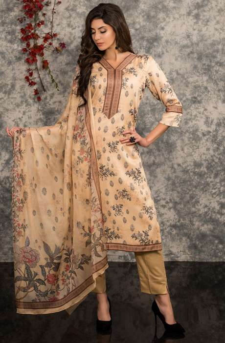 Digital Floral Print Summer Wear Modal Cotton Salwar Kameez In Beige - MAR1354R