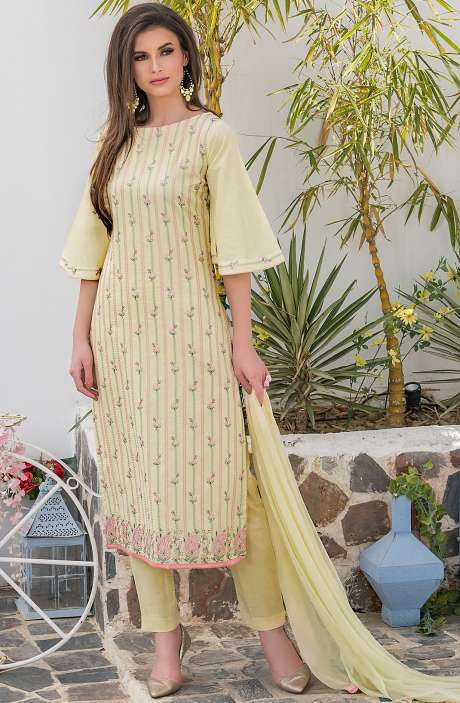 Cotton Thread Embroidery Unstitched Salwar Kameez with Chiffon Dupatta In Lemon Yellow - MAR2603A