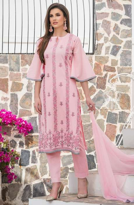 Cotton Thread Embroidery Unstitched Salwar Suit with Chiffon Dupatta In Pink - MAR2604A