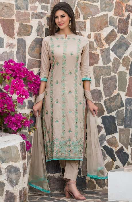 Cotton Thread Embroidery Unstitched Salwar Kameez with Chiffon Dupatta In Beige - MAR2604B