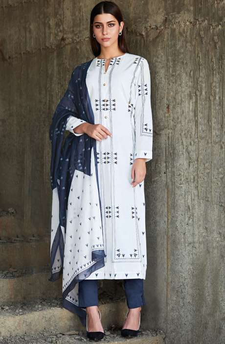 Cotton Printed Salwar Kameez In White & Blue - MAR974