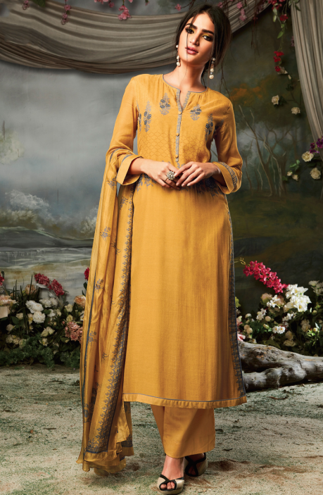 Cotton Silk and Satin Digital Print Mustard Salwar Suit with Hand Embroidery Work - MARS07