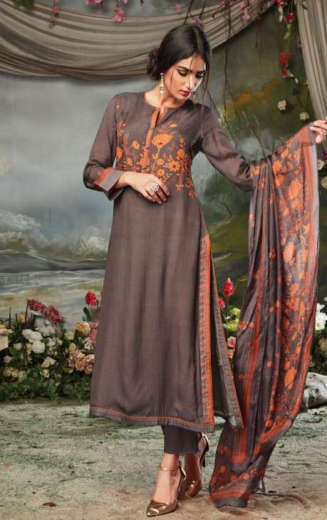 Cotton Silk and Satin Digital Print Coffee Color Salwar Suit with Hand Embroidery Work - MARS11