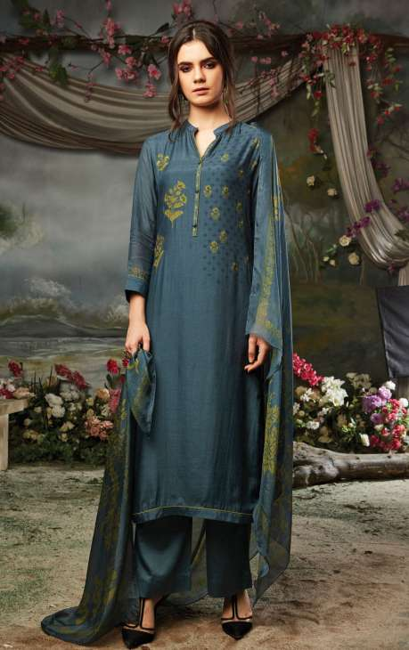 Cotton Silk and Satin Digital Print Grey Salwar Kameez Dress Material with Hand Embroidery Work - MARS12