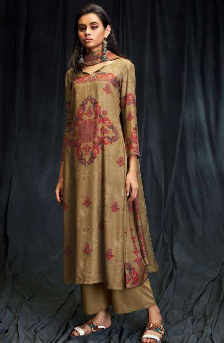 Spun Wool Winter Collection Digital Printed Brown Salwar Suit with Swarovski Work - MAS6610-R