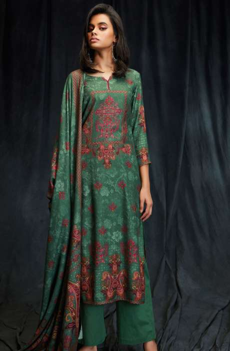 Spun Wool Winter Collection Digital Printed Bottle Green Salwar Suit with Swarovski Work - MAS6611-R