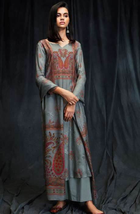 Spun Wool Winter Collection Digital Printed Grey Salwar Suit with Swarovski Work - MAS6612-R