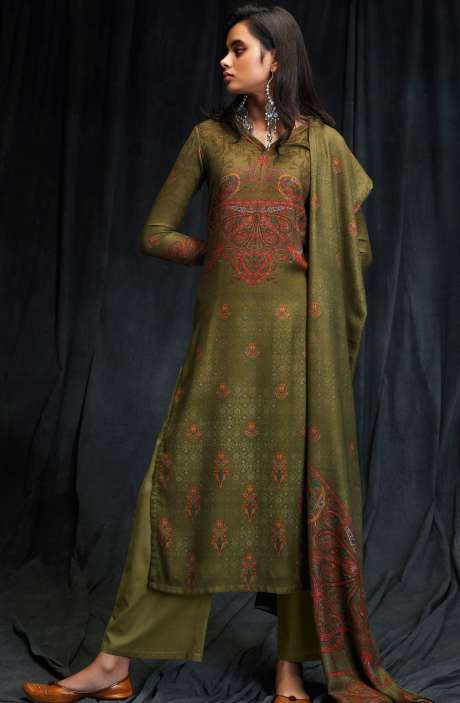 Spun Wool Winter Collection Digital Printed Green Shalwar Suit with Swarovski Work - MAS6614-R