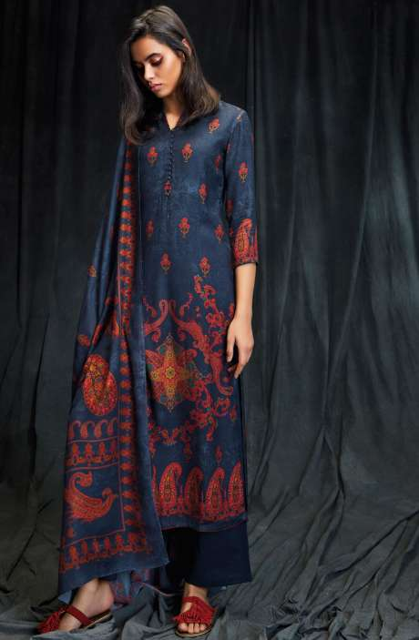 Spun Wool Winter Collection Digital Printed Blue Salwar Suit with Swarovski Work - MAS6615-R