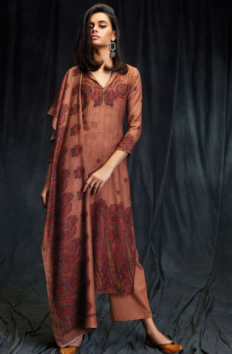 Spun Wool Winter Collection Digital Printed Brown Shalwar Suit with Swarovski Work - MAS6616-R