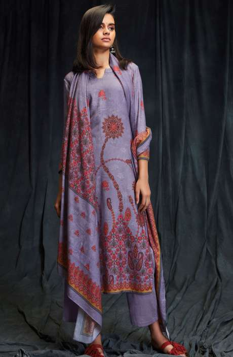 Spun Wool Winter Collection Digital Printed Purple Salwar Suit with Swarovski Work - MAS6617-R
