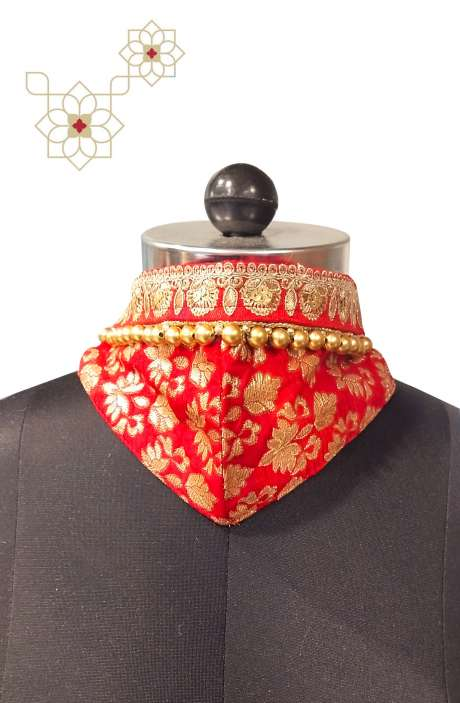 Custom Made Beautiful Brocade Work Red Bridal Face Mask - MASK4