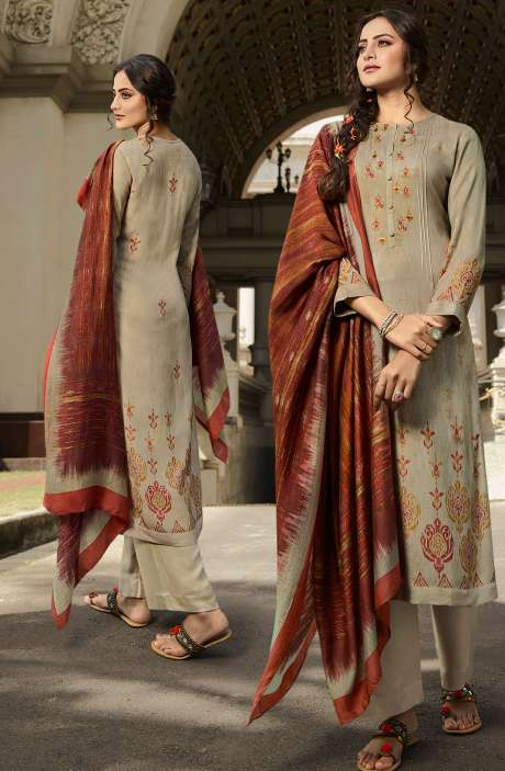 Pashmina Printed Salwar Kameez In Beige with Chiffon Dupatta - MAY419