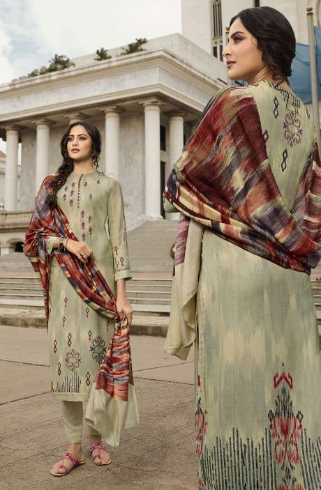 Pashmina Printed Salwar Kameez In Light Green with Chiffon Dupatta - MAY426