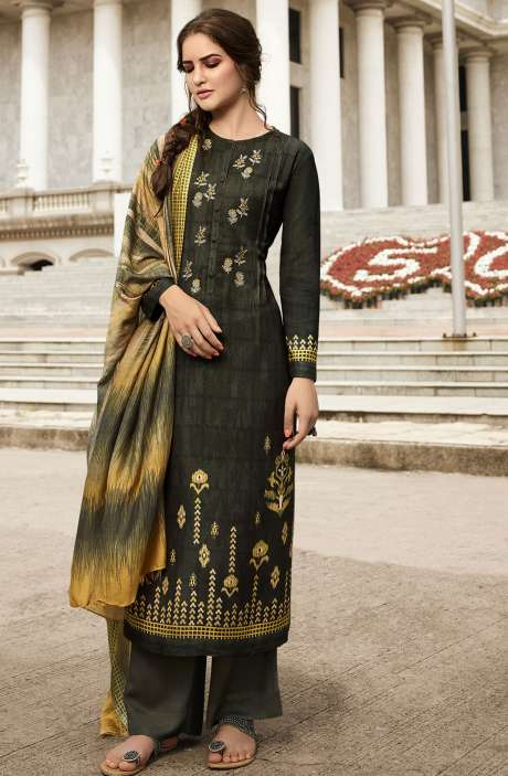 Pashmina Printed Salwar Kameez In Olive with Chiffon Dupatta - MAY437