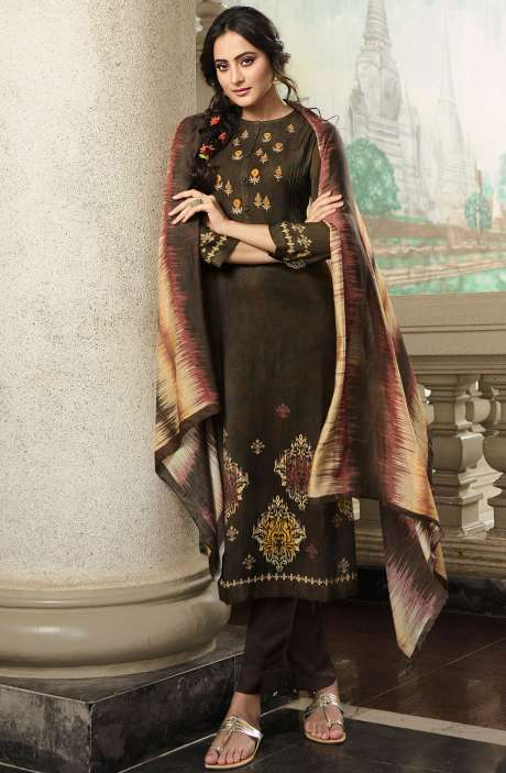 Pashmina Printed Salwar Kameez In Coffee with Chiffon Dupatta - MAY448