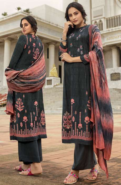 Pashmina Printed Salwar Kameez In Grey with Chiffon Dupatta - MAY458