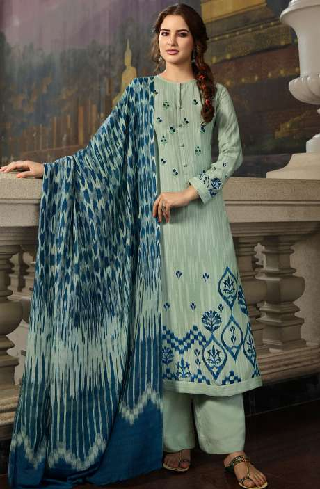 Pashmina Printed Salwar Kameez In Sea Green with Chiffon Dupatta - MAY468