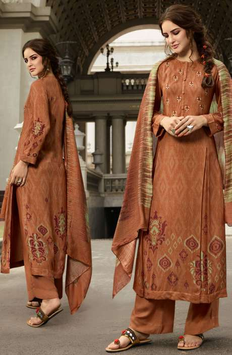 Pashmina Printed Salwar Kameez In Rust with Chiffon Dupatta - MAY485