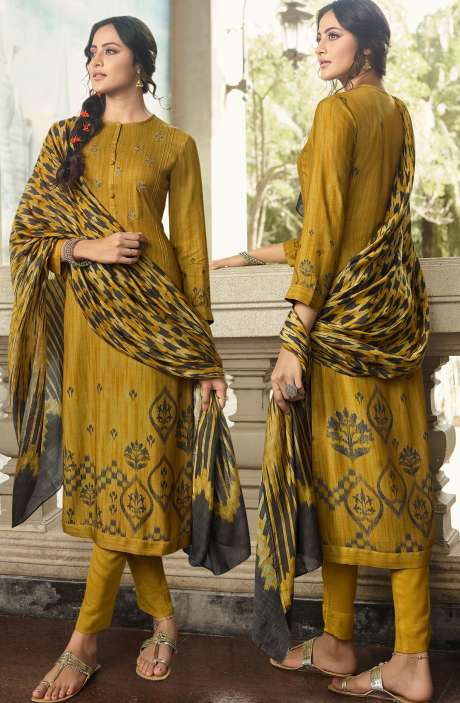 Pashmina Printed Salwar Kameez In Mehndi with Chiffon Dupatta - MAY490
