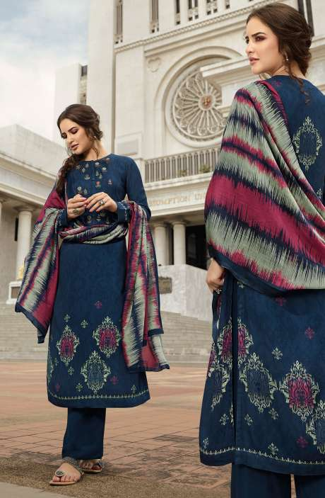 Pashmina Printed Salwar Kameez In Blue with Chiffon Dupatta - MAY492