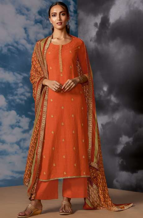 Designer Silk Jacquard Zari Work Salwar Suit Sets In Orange - MEG8402