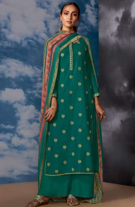 Designer Silk Jacquard Zari Work Salwar Suit Sets In Bottle Green - MEG8403
