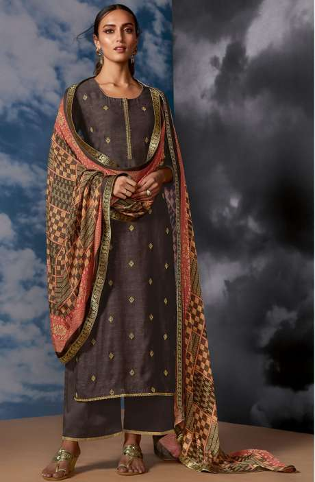 Designer Silk Jacquard Zari Work Salwar Suit Sets In Coffee Brown - MEG8405