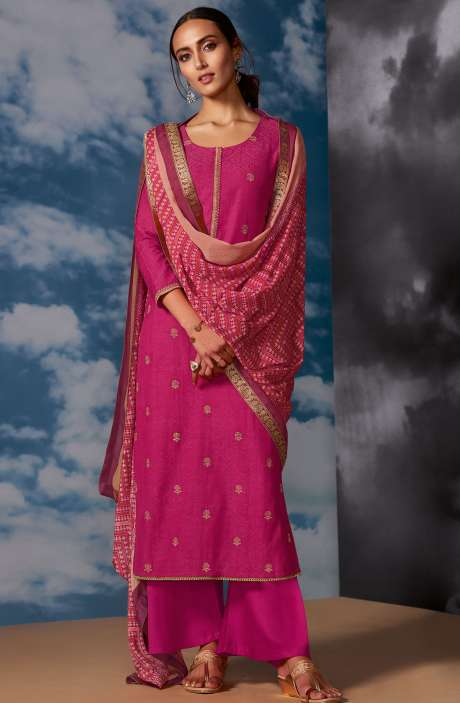 Designer Silk Jacquard Zari Work Salwar Suit Sets In Pink - MEG8406