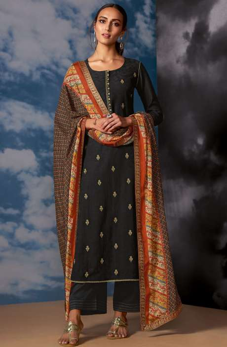 Designer Silk Jacquard Zari Work Salwar Suit Sets In Black - MEG8408