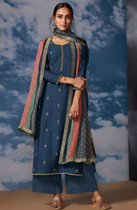 Designer Silk Jacquard Zari Work Salwar Suit Sets In Blue - MEG8409