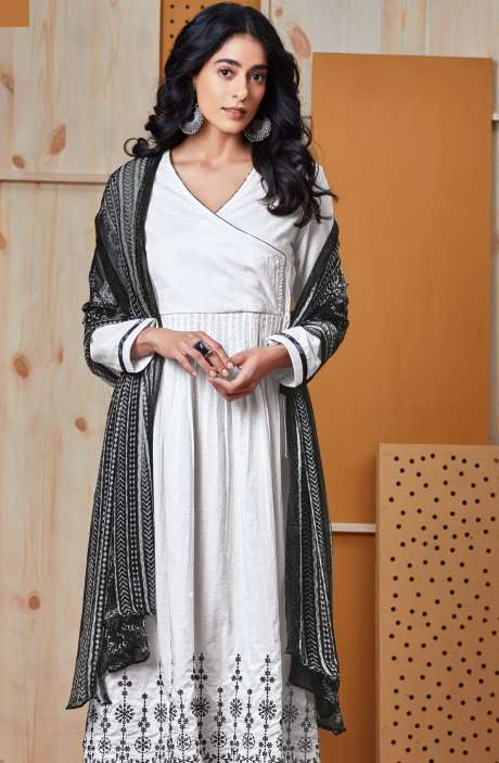 Cotton Printed with Embroidered White and Grey Suit Set - MEH003