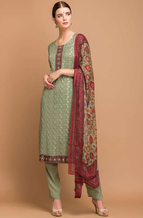 Exclusive Georgette and Crepe Embellished Salwar Kameez In Green - MEH2710
