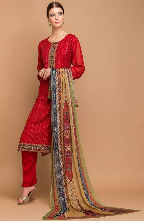 Georgette and Crepe Embellished Salwar Kameez In Maroon - MEH2711R