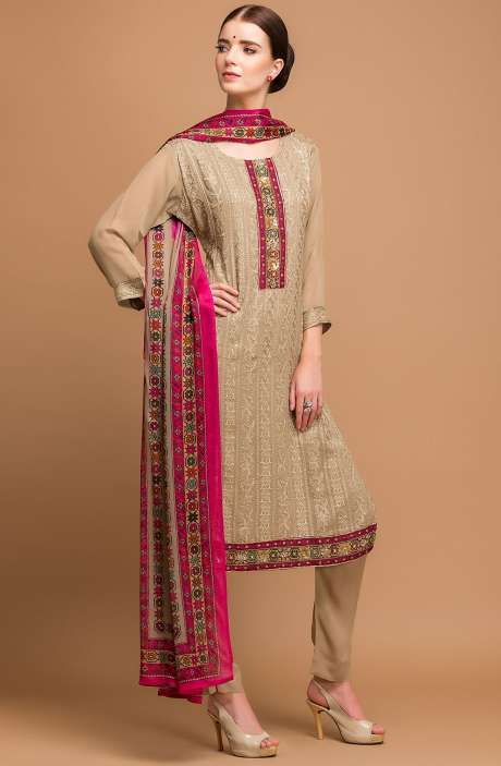 Georgette and Crepe Embellished Salwar Kameez In Beige - MEH2712R