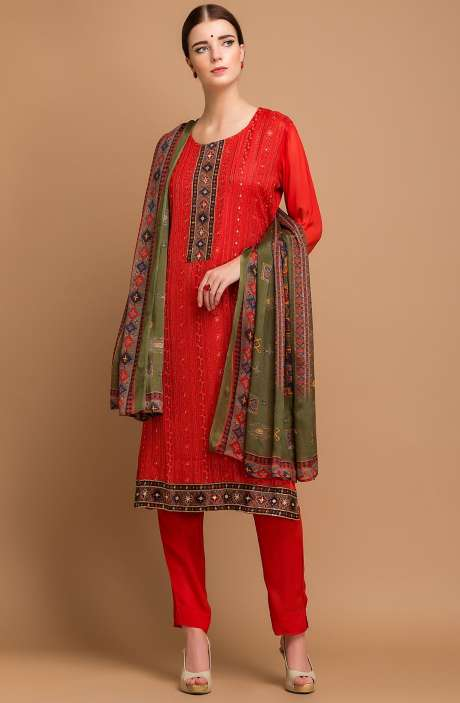 Exclusive Georgette and Crepe Embellished Salwar Kameez In Red - MEH2713