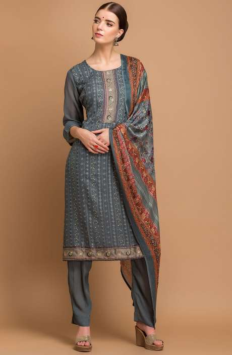 Georgette and Crepe Embellished Salwar Kameez In Grey - MEH2715R
