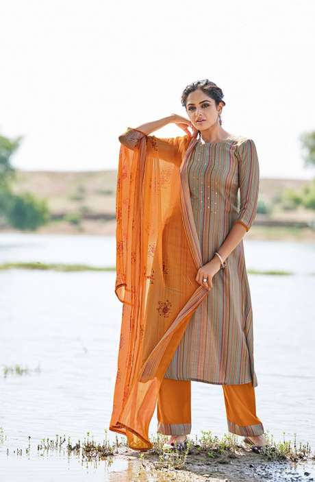 Casual Spun Stripe Prints Salwar Kameez In Multi with Chiffon Dupatta - MEH5561