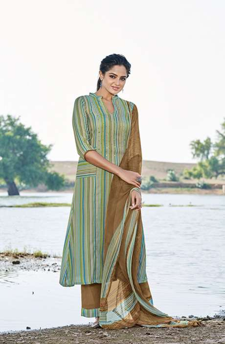 Casual Spun Stripe Prints Salwar Kameez In Multi with Chiffon Dupatta - MEH5562