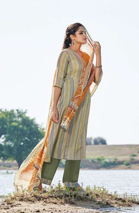Casual Spun Stripe Prints Salwar Kameez In Multi with Chiffon Dupatta - MEH5563