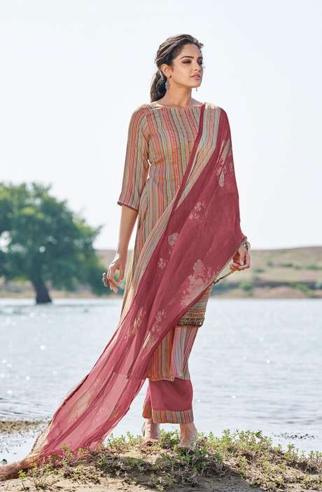 Casual Spun Stripe Prints Salwar Kameez In Multi with Chiffon Dupatta - MEH5564