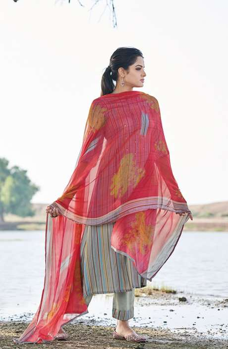 Casual Spun Stripe Prints Salwar Kameez In Multi with Chiffon Dupatta - MEH5565